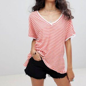 Free People Take Me T-Shirt Linen Striped